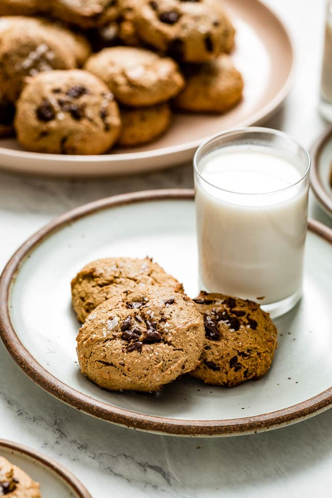 Flourless Almond Butter Chocolate Chip Cookies served with milk on the side