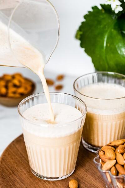 A glass of almond butter milk