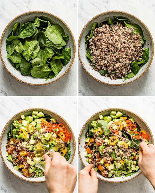 Photos to show how to make quinoa salad with avocado cherry tomatoes and feta