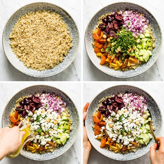 Step by step photos on how to make quinoa salad with feta