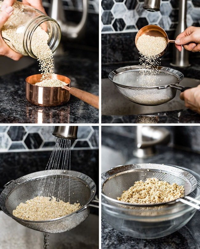 Step by step images of rinsing quinoa in a kitchen environment