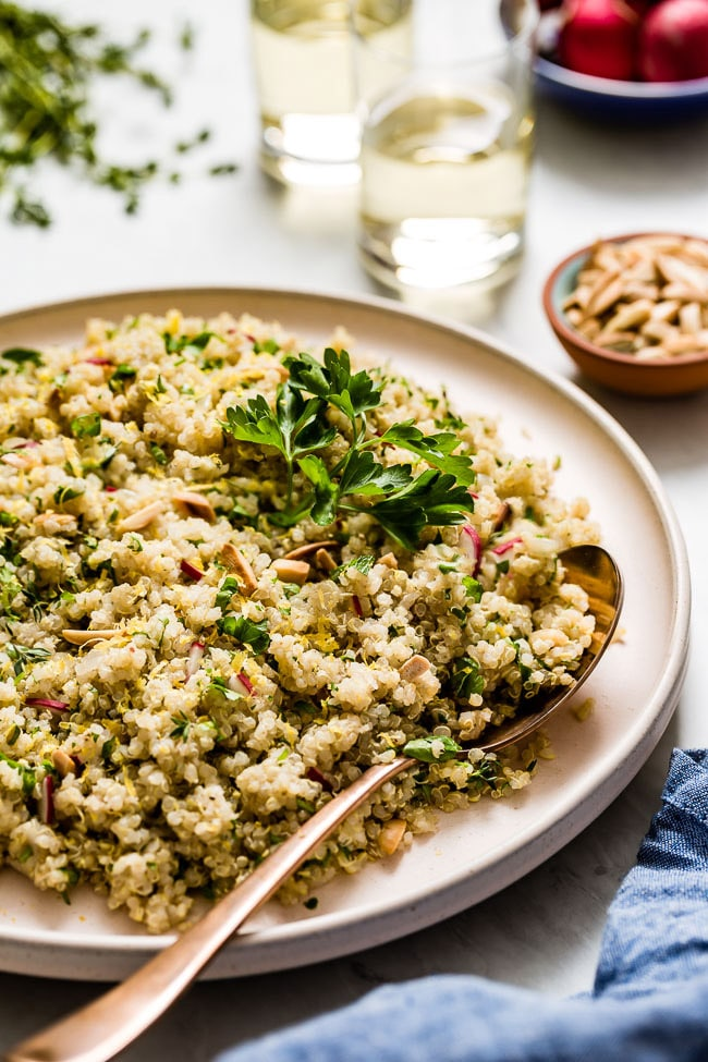 Lemon Herb Quinoa garnished with parsley photographed at a close distance