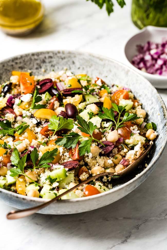 A bowl of Mediterranean Quinoa Salad with Chickpeas