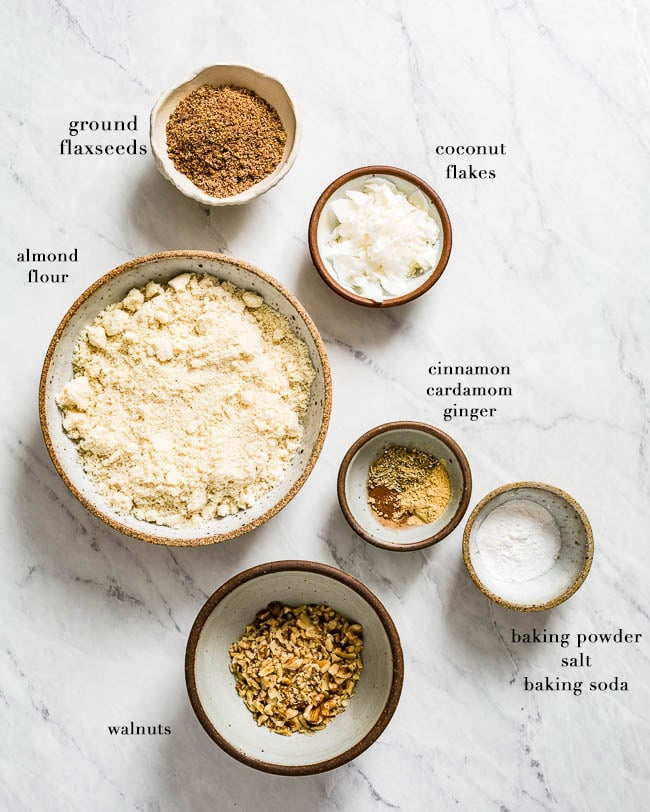 Dry ingredients for almond flour carrot cake recipe