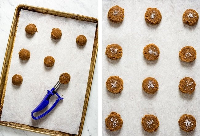 Scooped batter on the sheet pan topped off with sea salt