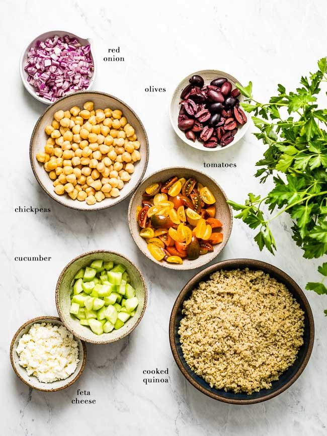 All ingredients for the recipe are laid out on the counter