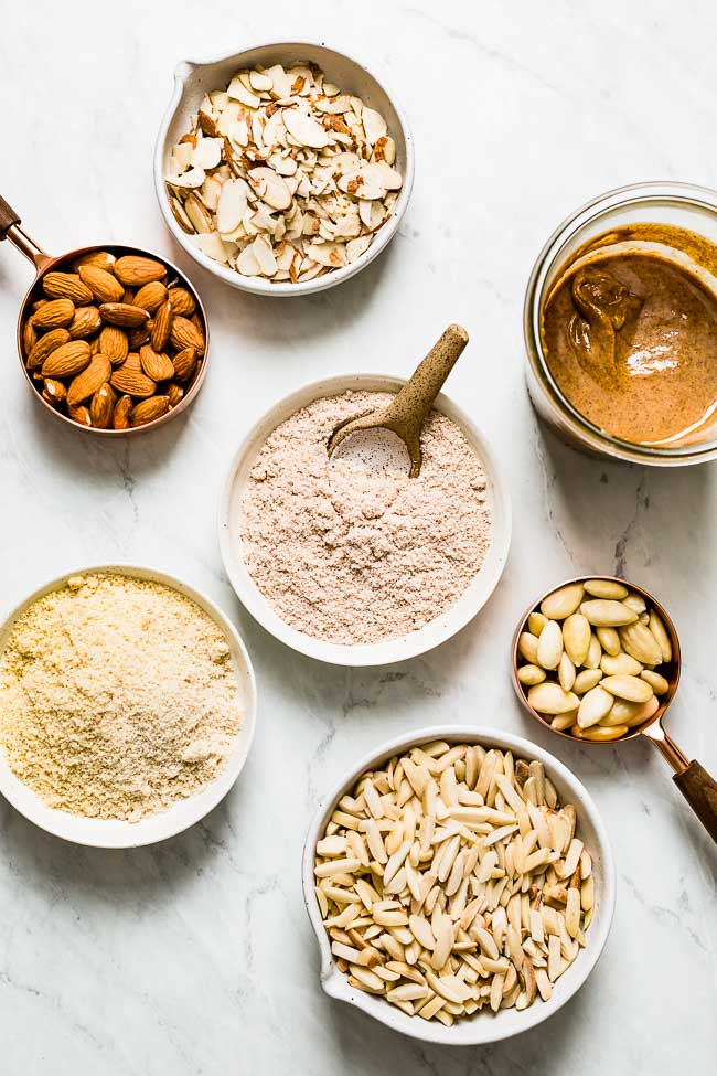 different types of almonds to make homemade almond milk (cuts, shapes, and forms)