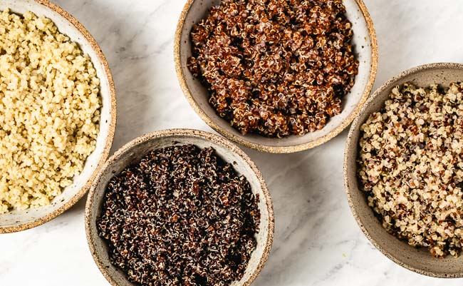 Different types of cooked seeds