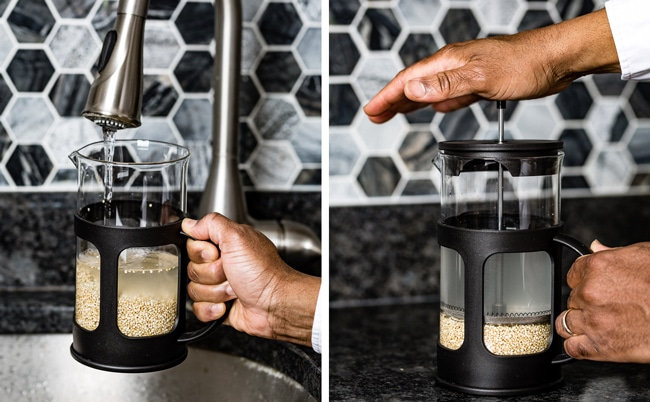 Washing quinoa using a French press without a sieve
