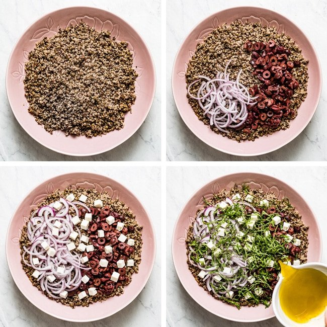 Showing steps of assembling quinoa and lentil salad