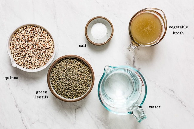 Ingredients to cook lentils and quinoa together in one pot