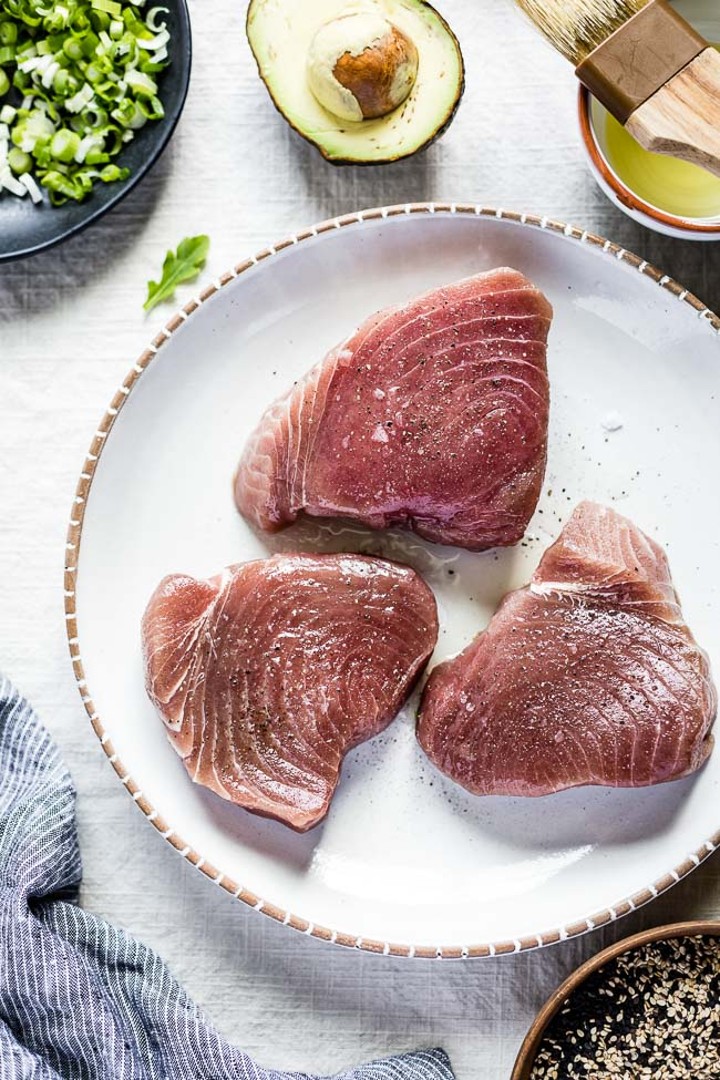 photo of raw tuna to show how to prepare ahi tuna steaks