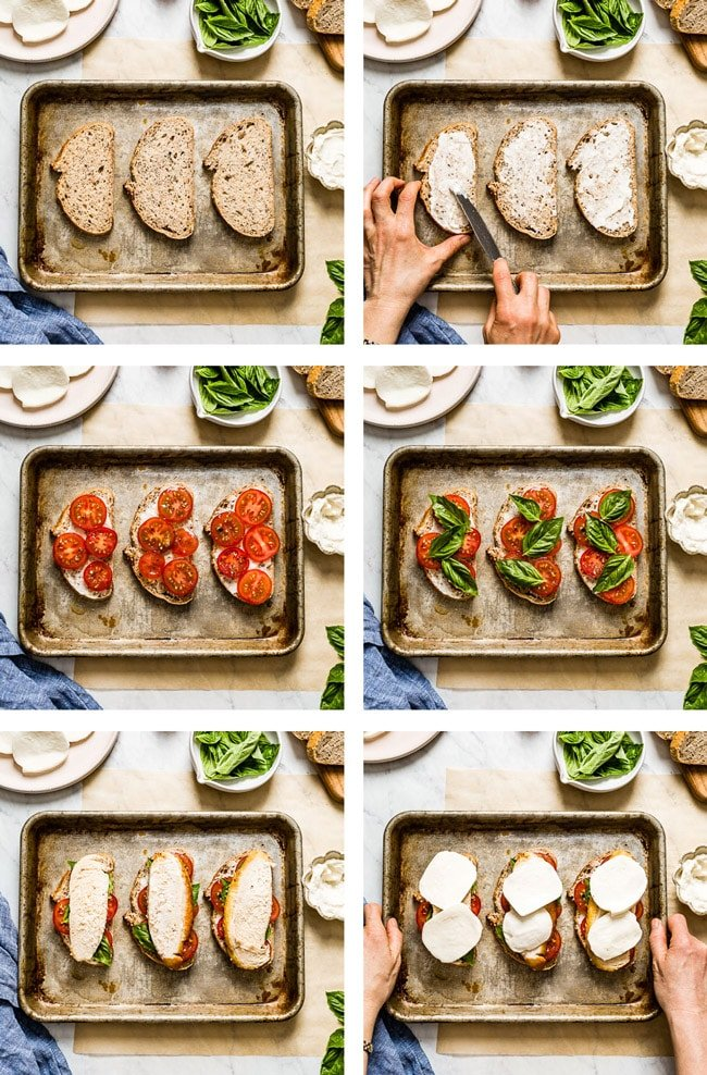 Steps showing how to make tomato mozzarella sandwich with chicken (6 photos)