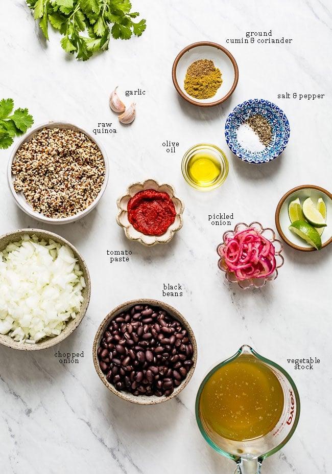Ingredients for vegan taco ingredients