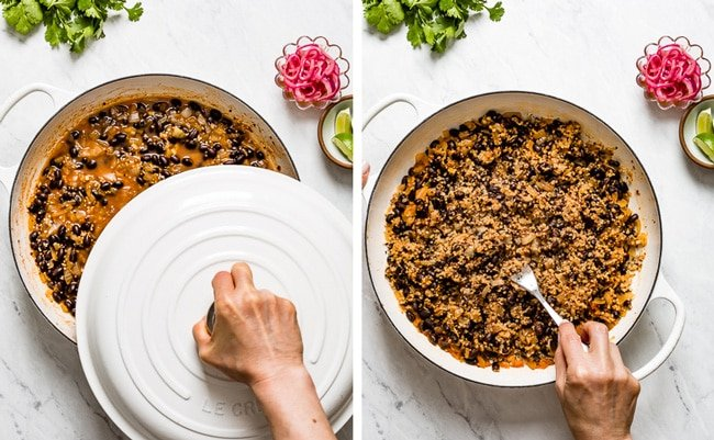 A woman is fluffing quinoa for vegan black bean tacos