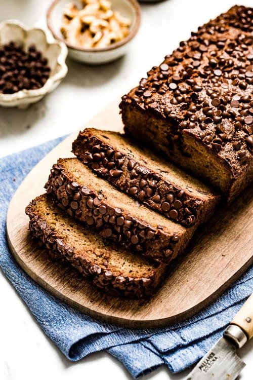 Sliced Healthy Zucchini bread with chocolate