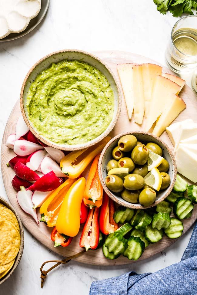 Raw vegan avocado sauce used as a dip