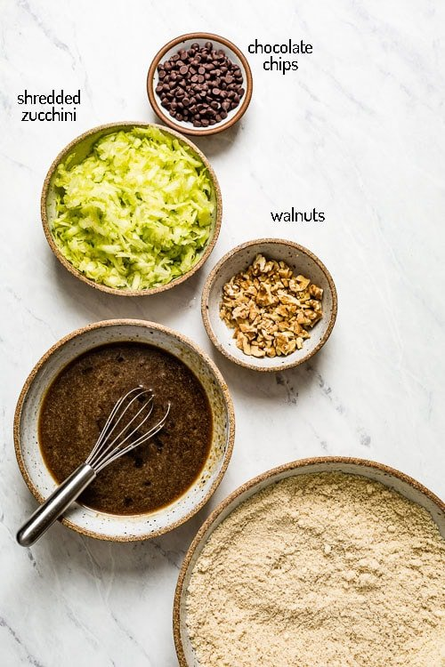 The rest of the ingredients for almond flour zucchini bread with no banana
