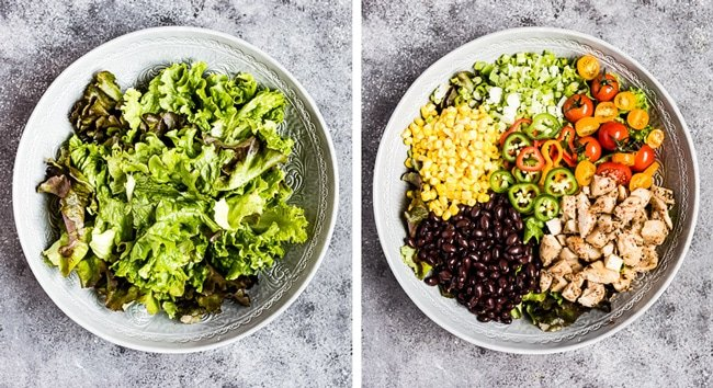 Step by step photos showing How to make a Southwest salad