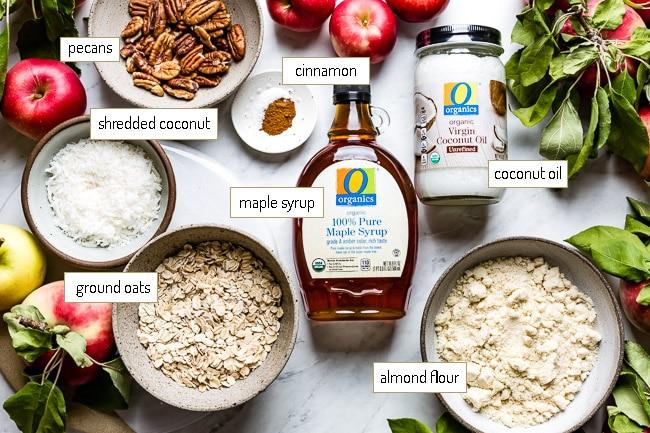 Ingredients for vegan crumble topping