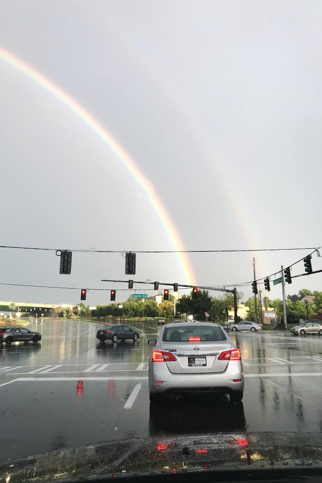Double rainbow right after a heavy rain