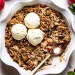 Vegan apple crisp recipe topped off with vanilla ice cream