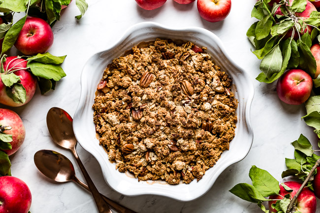 Non Dairy Apple Crisp recipe fresh out of the oven in a pie plate