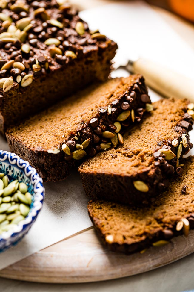 Sliced sugar free pumpkin bread with almond flour from close up view