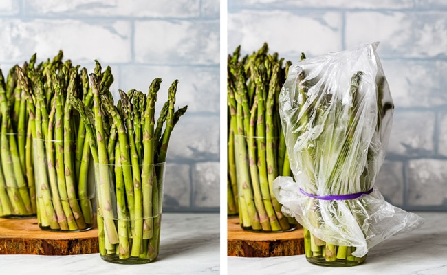 Two photos showing how to store asparagus (in a glass and covered with plastic)