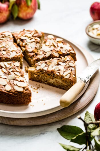 Paleo Apple Cake recipe made with almond flour sliced on a plate
