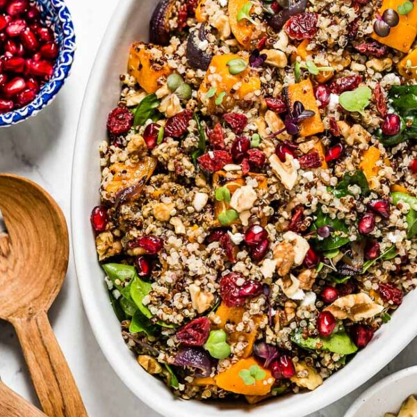 Healthy Thanksgiving recipes Butternut Squash Quinoa in an oval bowl from the top view