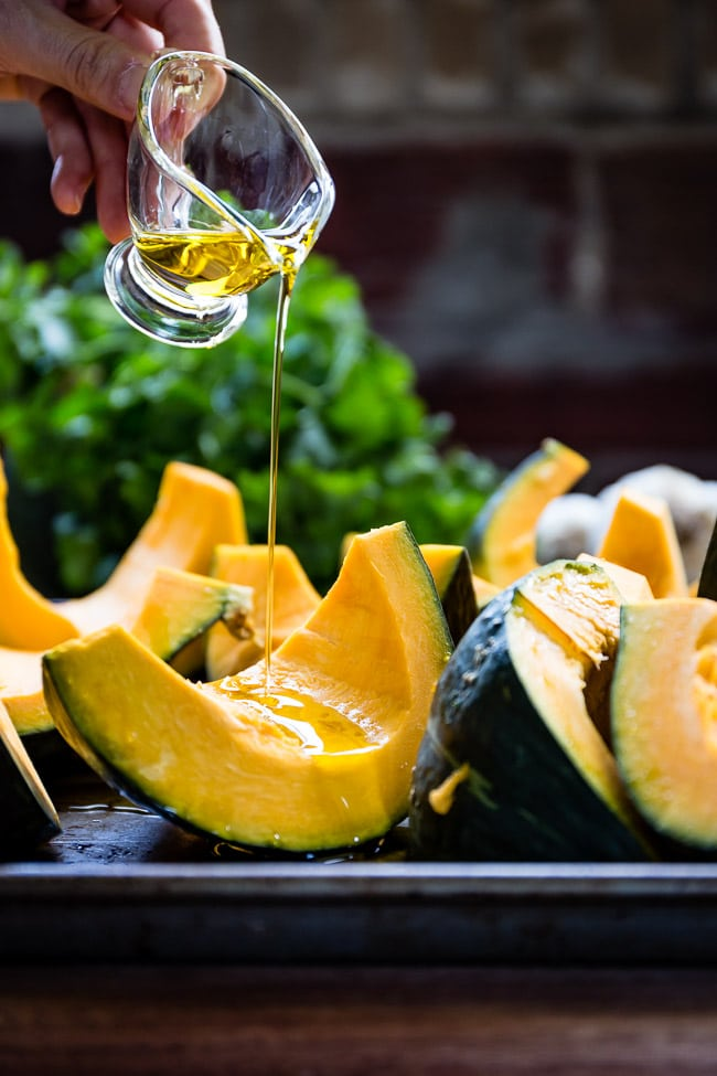 Kabocha Squash drizzled by olive oil for roasting