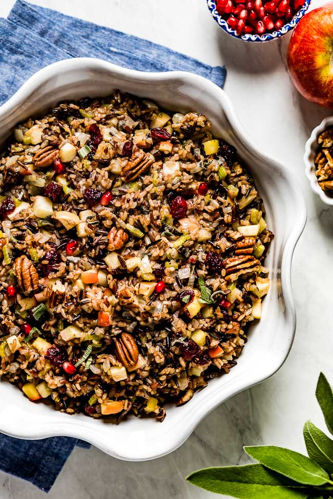 Wild rice stuffing recipe placed in a bowl from the top view