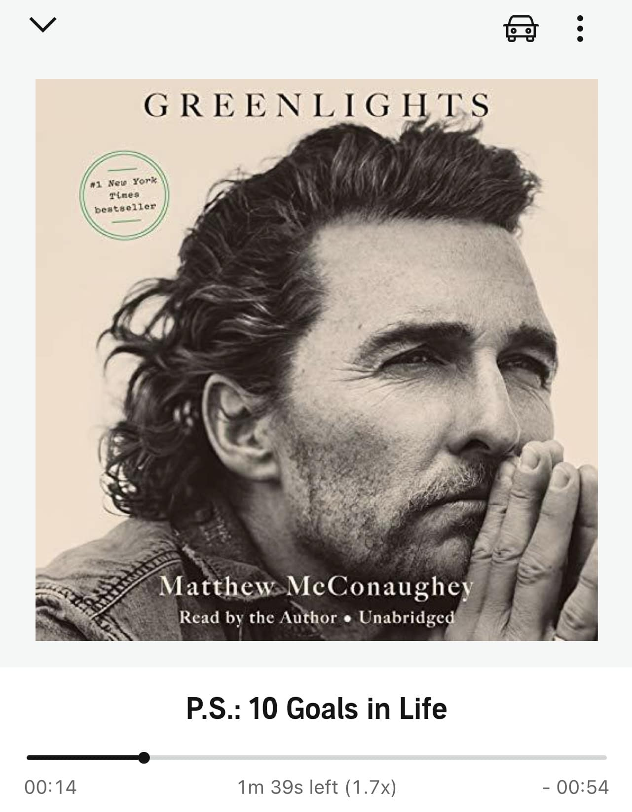 The audible version cover of Matthew McConaughey's book Greenlights