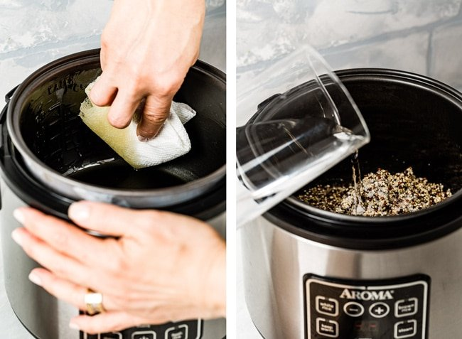 Person preparing rice cooker by oiling the insert and adding the ingredients in