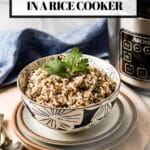 Quinoa cooked in rice cooker in a bowl with text on the image
