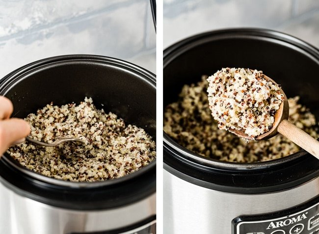 Person fluffing quinoa after it was freshly cooked