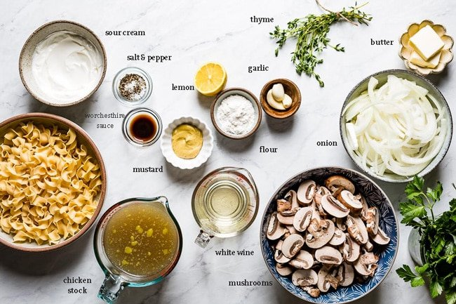 Ingredients for noodles with chicken and mushrooms