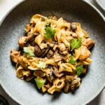 Chicken Stroganoff placed in a bowl garnished with herbs