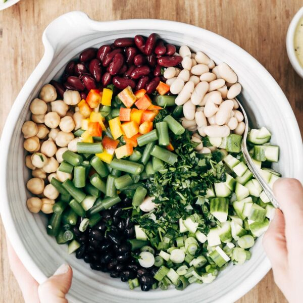 Five Bean Salad ingredients in a bowl from top view