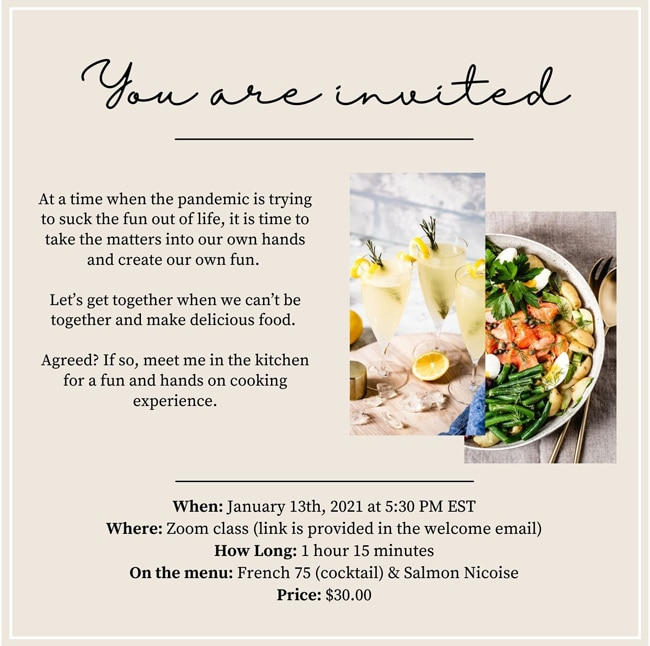 Invitation for my first cooking class