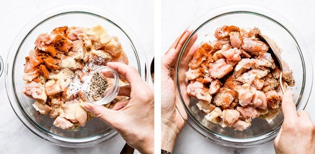 Person seasoning and mixing chicken thighs