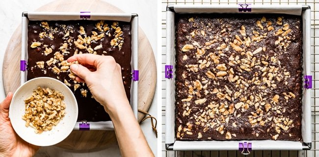 Almond meal chocolate brownies in the baking pan before and after photos
