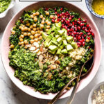 kale quinoa salad in a bowl with text on the image for SM