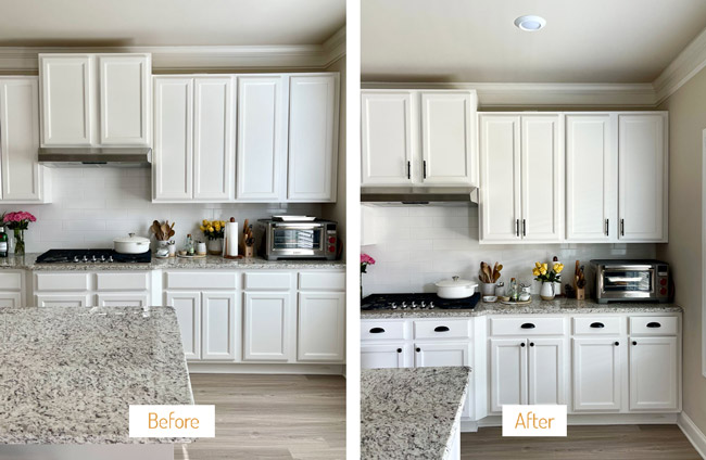 Foolproof Living's Kitchen with and without knobs