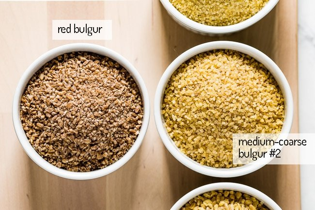 Medium coarse and red bulgur from in bowls from the top view