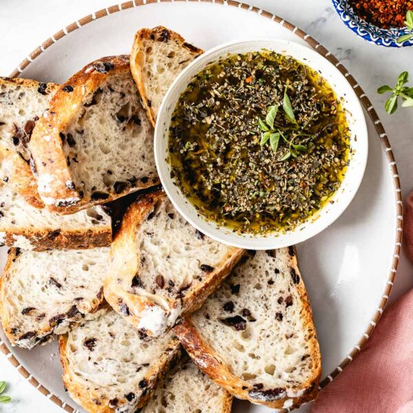 Olive Oil Bread Dip Recipe served with bread on the side