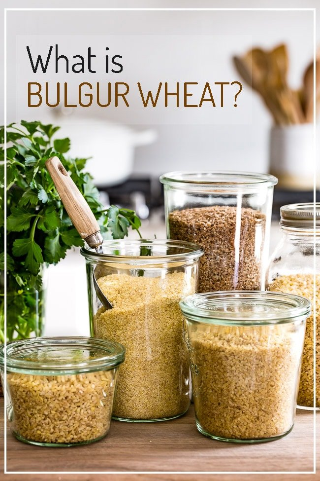 Bulgur wheat placed in jars in a kitchen setting
