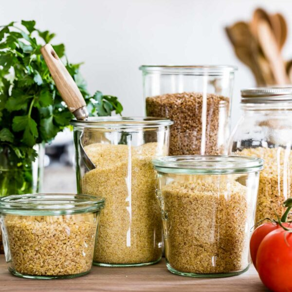 Bulgur wheat placed in jars in a kitchen