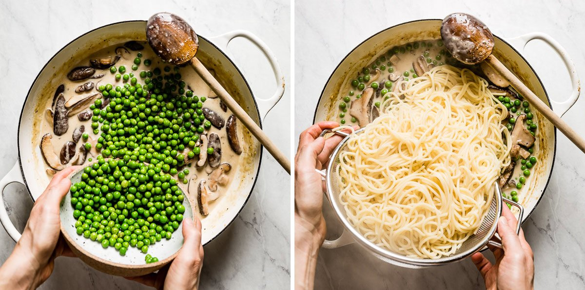 person placing peas and pasta into the creamy sauce